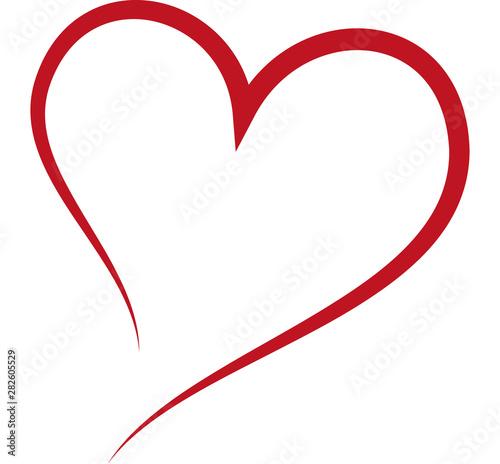 Fototapeta Red heart, love, wedding, romance - single line obraz