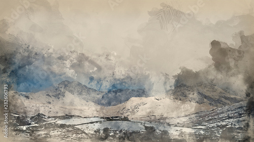 Door stickers Dark grey Digital watercolour painting of Beautiful Winter landscape image of Llynnau Mymbyr in Snowdonia National Park with snow capped mountains in background