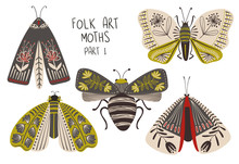 Set Of Folk Art Decorated Moths.