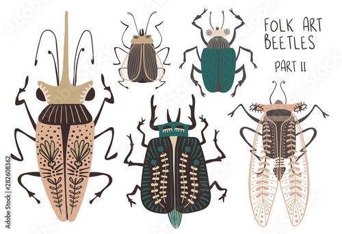 Set Of Folk Art Decorated Beetles. Billede på lærred