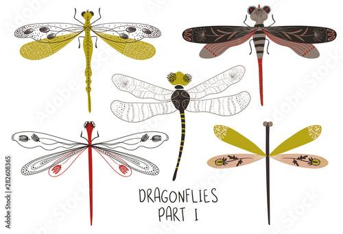 Foto Set Of Folk Art Decorated Dragonflies.