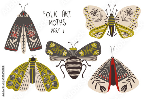 Set Of Folk Art Decorated Moths. Poster Mural XXL
