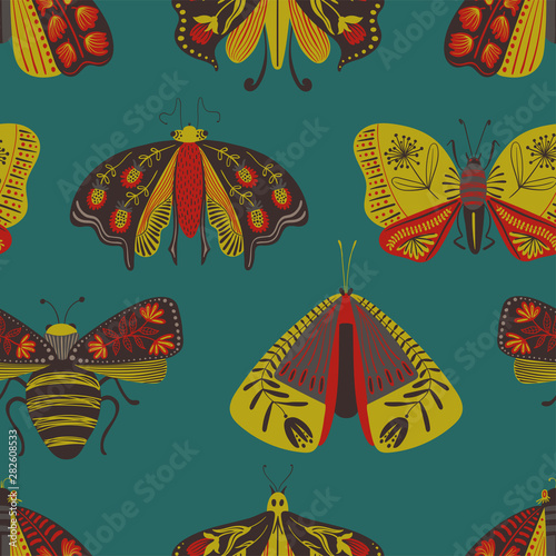 Folk Art Seamless Pattern With Moths. Canvas