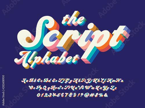 Fényképezés Vector of groovy hippie style alphabet design