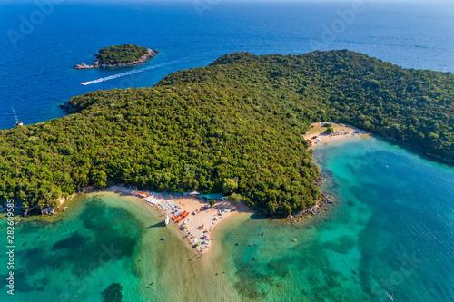 Poster de jardin Europe Méditérranéenne Aerial drone bird's eye view of Bella Vraka Beach with turquoise sea in complex islands in Sivota area, Ionian sea, Epirus, Greece