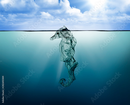 Poster Glaciers Plastic seahorse, pollution that floats in the ocean