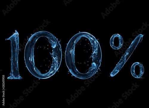 Fotomural Number 100 and percent sign made with a splash of water on a black background