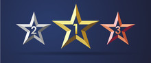 Golden, Silver And Bronze Stars Rating Realistic 3D Icon. 1, 2, 3 Star Facet Symbols, Sport Rank Sign Template On Dark Background. Vector Illustration