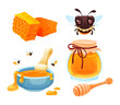 Beekeeping farm set cartoon vector illustration isolated