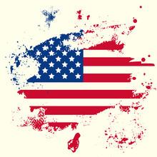Vector American Flag With Grun...