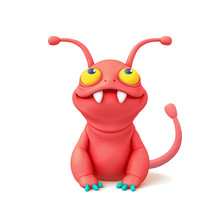 3d Digital Illustration Of A Cute Little Cartoon Red Monster Sitting On White Background. Concept Art Character Of Smiling Frog Mutant. Alien Creature. Illustration Of Funny Monster With Big Teeth.