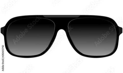 Leinwand Poster Sunglasses in black plastic rimmed aviator model
