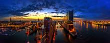 Sonnenaufgang Hambug Mit Blick Auf Die Elbphilharmonie