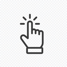 Click Cursor Icon Isolated On Transparent Background. Vector Hand Pointer Symbol.