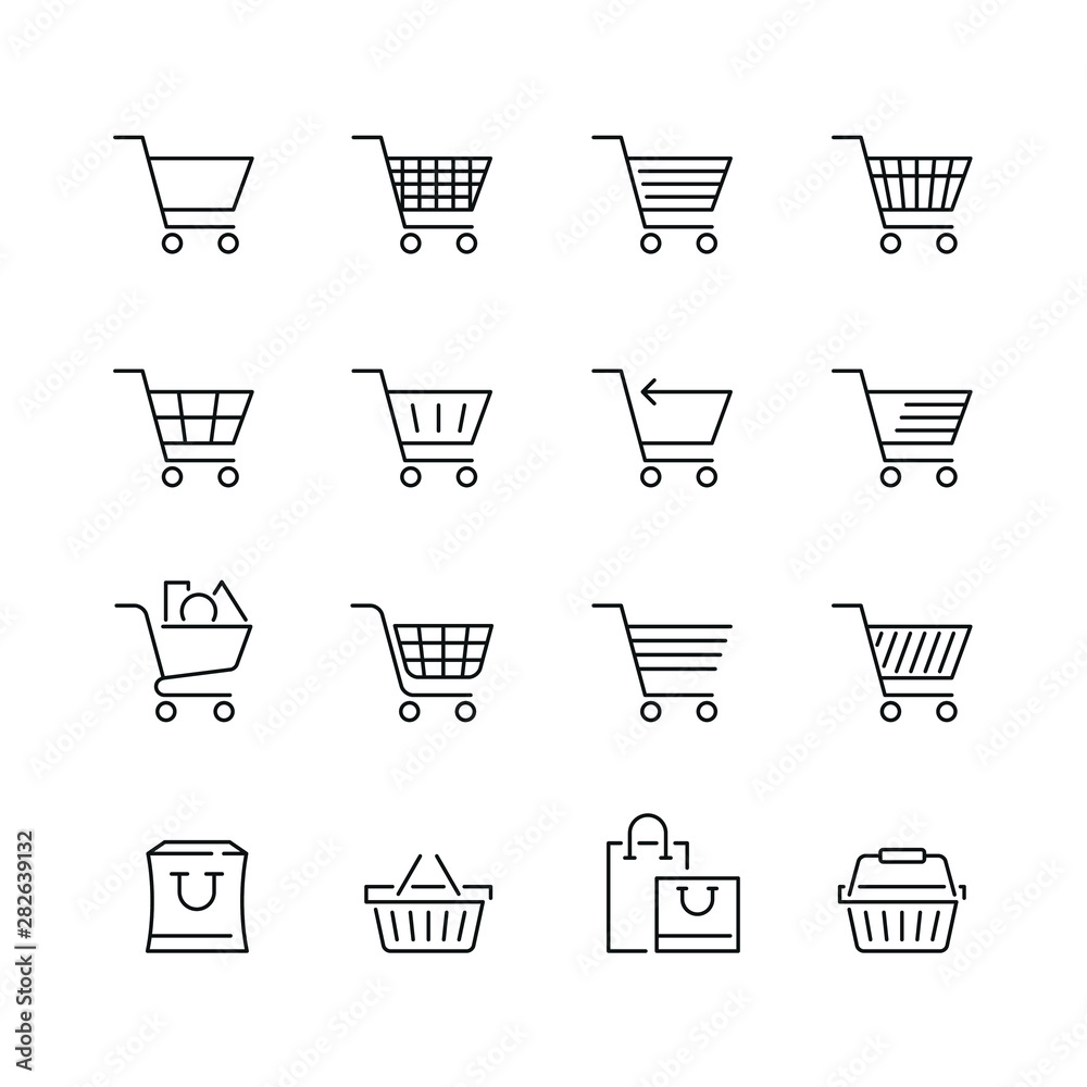 Fototapeta Shopping cart related icons: thin vector icon set, black and white kit