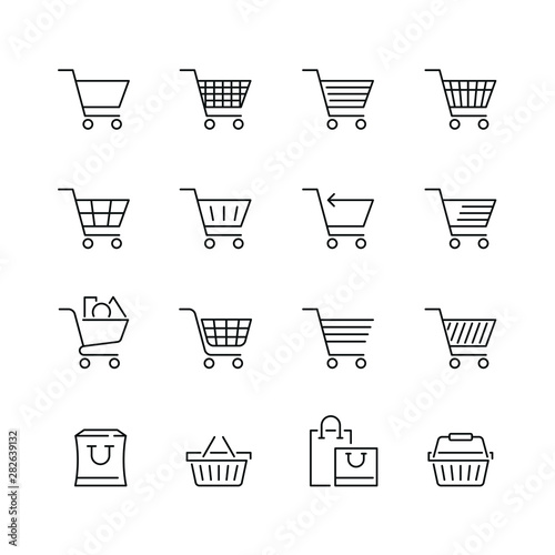 Obraz na płótnie Shopping cart related icons: thin vector icon set, black and white kit