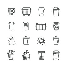 Trash Can Related Icons: Thin ...