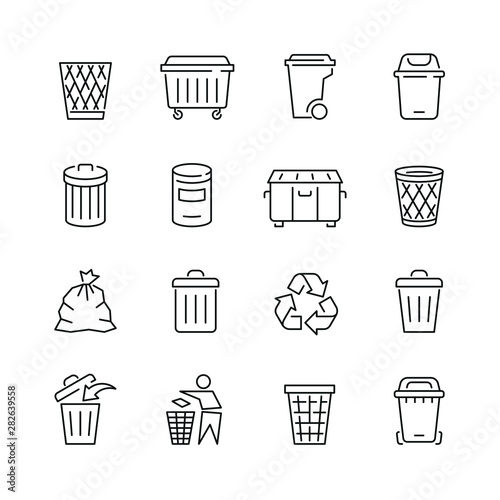 Photo Trash can related icons: thin vector icon set, black and white kit