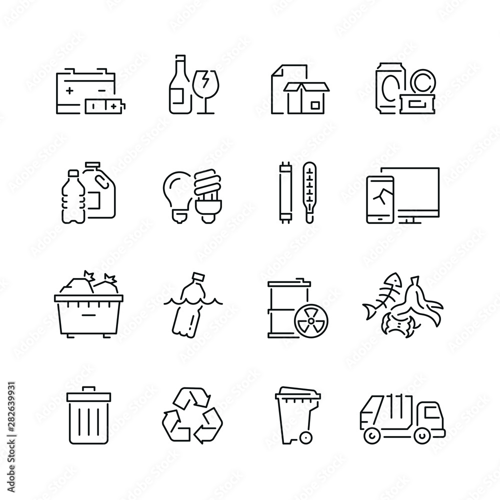 Fototapeta Trash related icons: thin vector icon set, black and white kit
