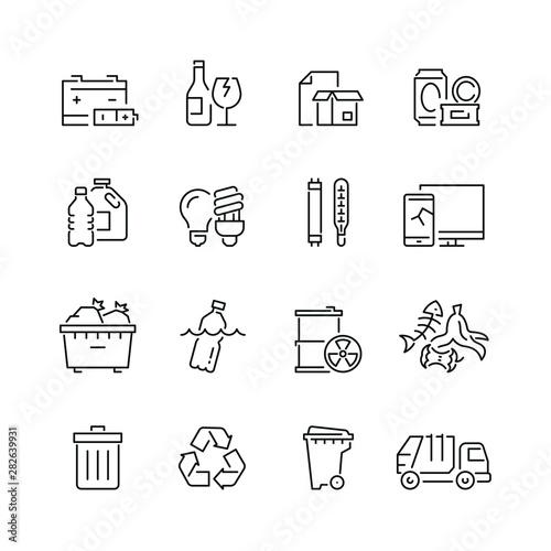 Obraz Trash related icons: thin vector icon set, black and white kit - fototapety do salonu