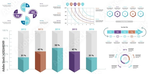 Fotomural Creative business infographic slide templates set can be used for annual report, web design, workflow layout
