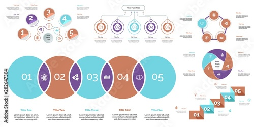 Photo  Business infographic presentation slide design set can be used for workflow layout, annual report, web design