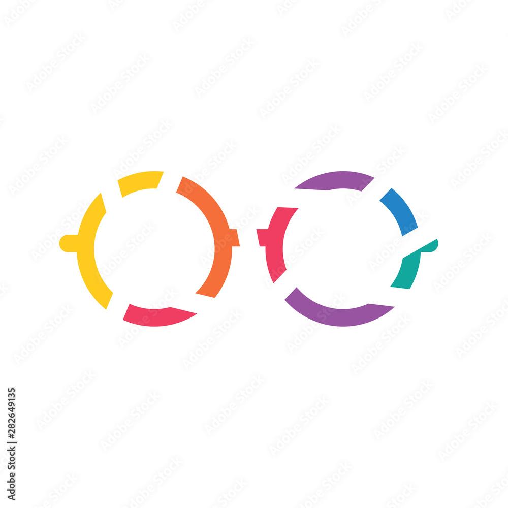 Fototapeta colorful geometric eyeglasses icon- vector illustration