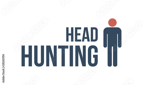 Photo  head hunting text with male silhouette
