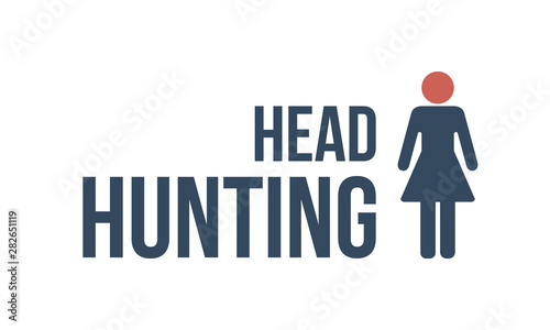 head hunting text with female silhouette Canvas Print