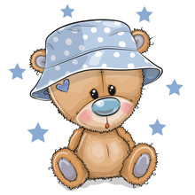 Cartoon Teddy Bear In Panama Hat Isolated On A White Background