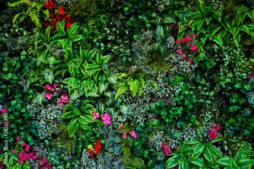 vertical plastic trees garden closeup