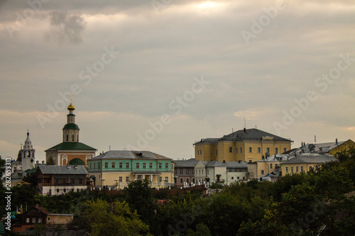 Stickers pour portes Delhi Panoramic view of the city of Vladimir, Russia summer a cloudy day on the background of green trees