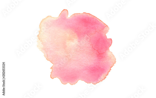 Abstract watercolor and acrylic blot painting. Pink red Color design element. Texture paper. Isolated on white background.