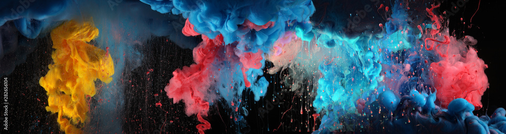 Fototapeta Acrylic blue and red colors in water. Ink blot. Abstract black background.