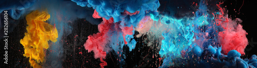 In de dag Abstract wave Acrylic blue and red colors in water. Ink blot. Abstract black background.
