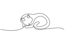 One Line Drawing. Cat Sleeping...