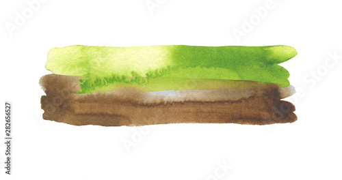Abstract watercolor and acrylic line brush stroke blot painting. Green Color design element. Texture paper. Isolated on white background.