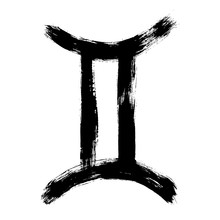 Gemini Zodiac Sign. Hand Painted Design Vector Illustration. Gemini Horoscope Sign, Symbol, Icon For Your Design. Hand Drawn Vector Illustration