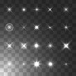 Glowing light star and sparkle. Isolated on transparent background. Vector illustration
