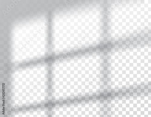 Cuadros en Lienzo Shadows overlay effects mock up, window frame natural light, vector illustration