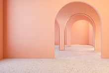 Peach Pink Coral Interior With Archs And Terrazzo Floor. 3d Render Illustration Mock Up