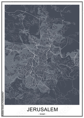 Photo map of the city of Jerusalem, Israel