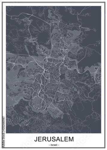 Fototapeta map of the city of Jerusalem, Israel