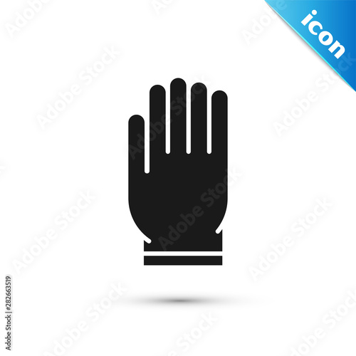 Black Garden gloves icon isolated on white background. Rubber gauntlets sign. Farming hand protection, gloves safety. Vector Illustration Wall mural