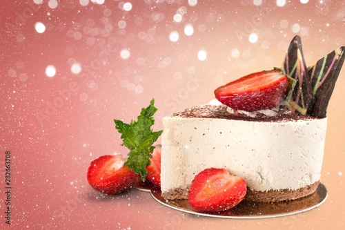 Chocolate cake with chocolate creame isolated on white Canvas Print