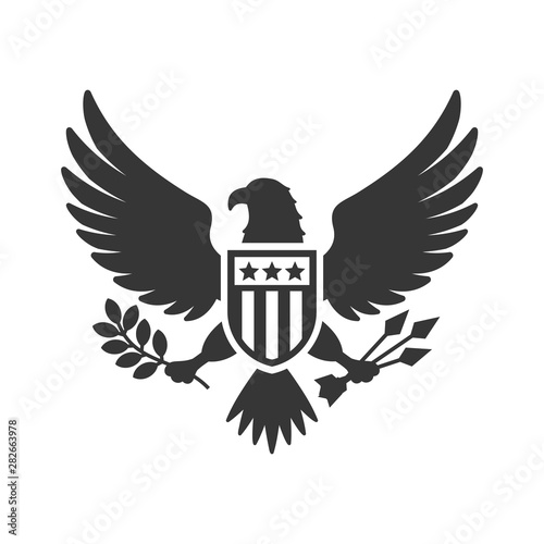 Obraz na plátně  American Presidential National Eagle Sign on White Background
