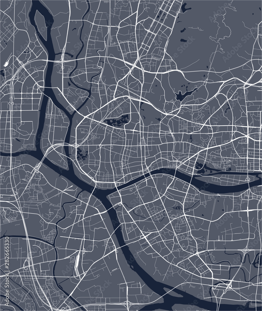 Fototapety, obrazy: vector map of the city of Guangzhou, Canton, Kwangchow, People's Republic of China