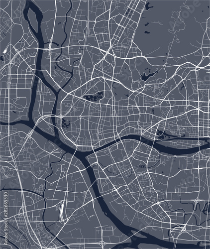 Fotografie, Obraz  vector map of the city of Guangzhou, Canton, Kwangchow, People's Republic of Chi