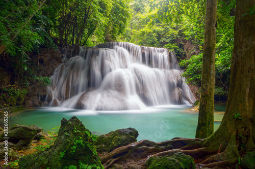 Fototapeten Wasserfalle Huay Mae Khamin Waterfall. Nature landscape of Kanchanaburi district in natural area. it is located in Thailand for travel trip on holiday and vacation background, tourist attraction.