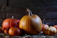 Halloween Pumpkins In Old Barn